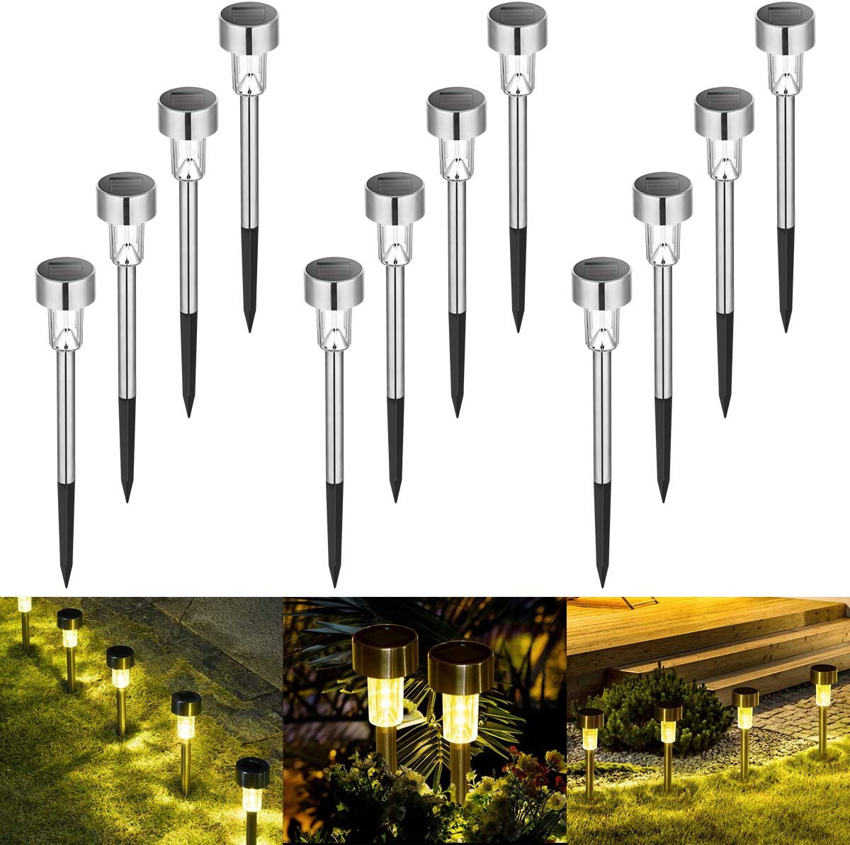 Sowsun Solar Pathway Lights Outdoor ,Solar Powered Landscape Garden Lights for Pathway ,Lawn, Patio, Yard,Path,Walkway Decoraiton-12 Pack warm white