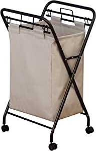 Household Essentials 7172 Rolling Laundry Hamper with Heavy-Duty Canvas Bag | Antique Bronze Frame