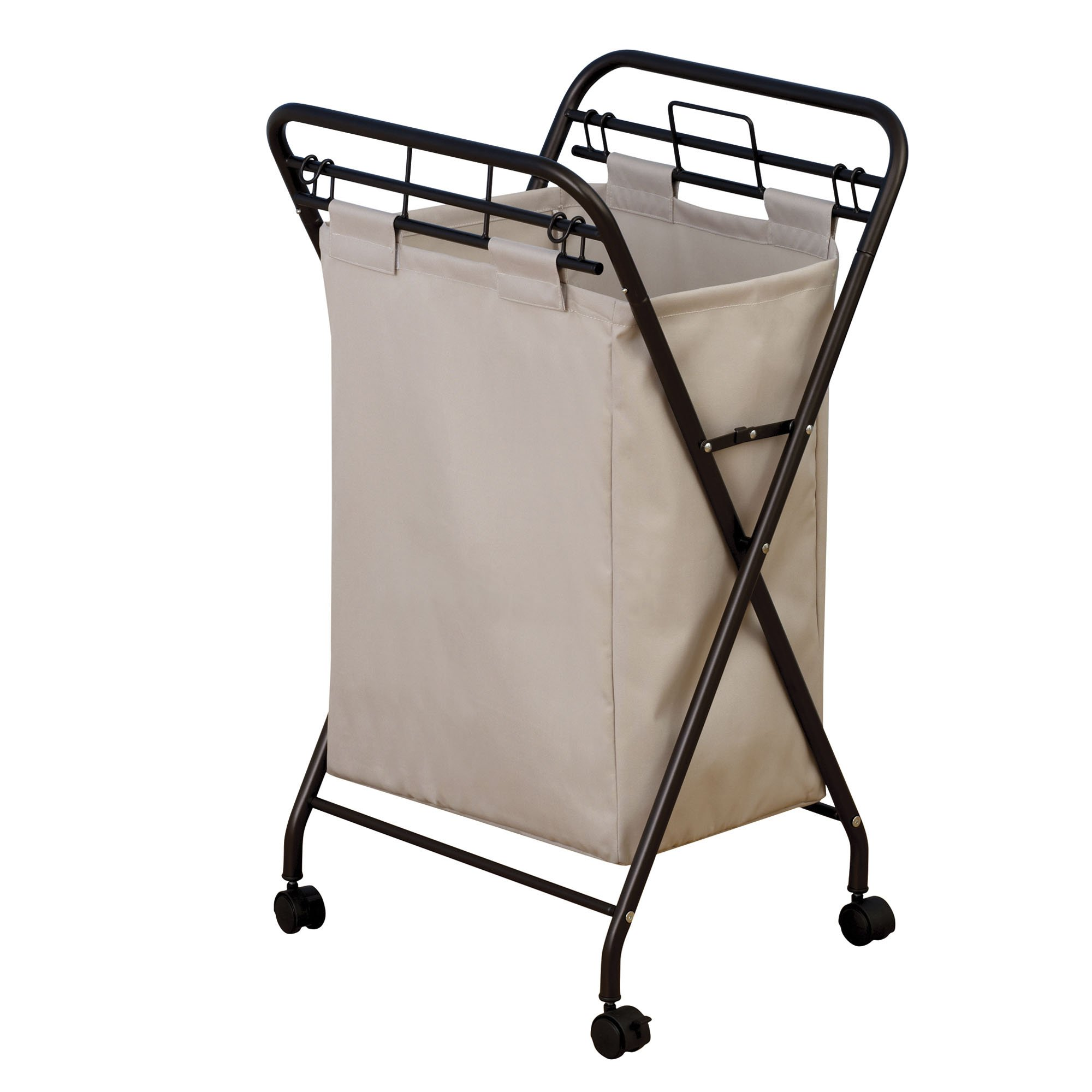 Household Essentials 7172 Rolling Laundry Hamper with Heavy Duty