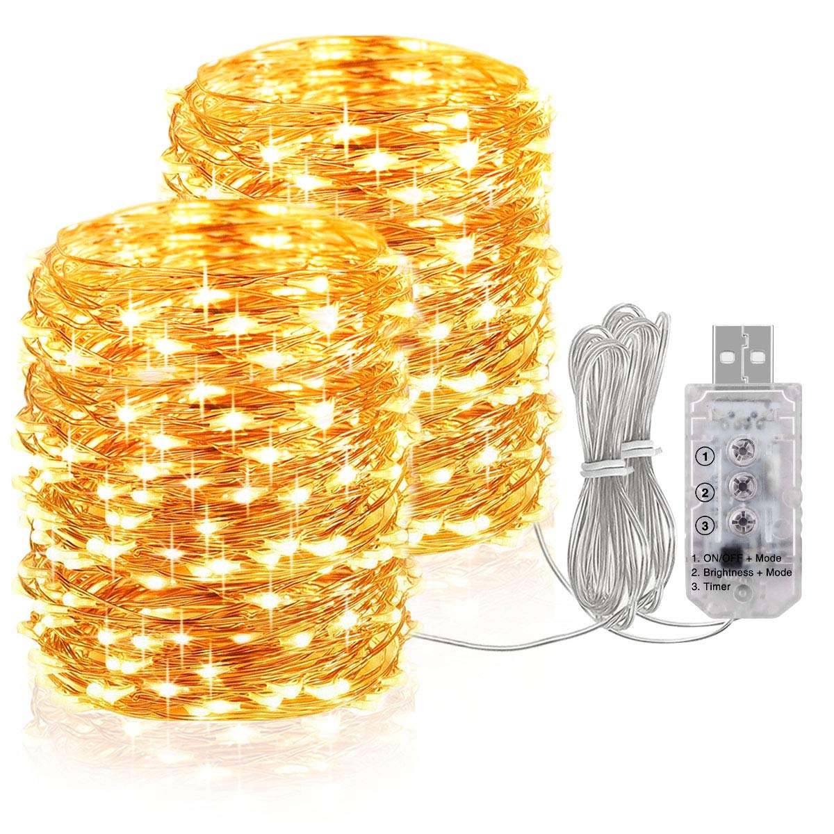 for Outdoor Garden Christmas Tree Wedding Decor USB Powered 5V Waterproof Copper Wire Twinkle Firefly Lights Onforu 66ft 200 LED String Lights 3000K Warm White 8 Modes Dimmable Fairy Lights