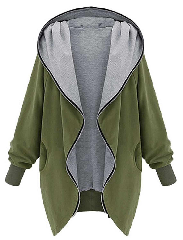 Juleya Damen Mantel Parka Casual Kapuzenpullover Hoodie Winterjacke mit Zipper Für Herbst Winter T170815O-J