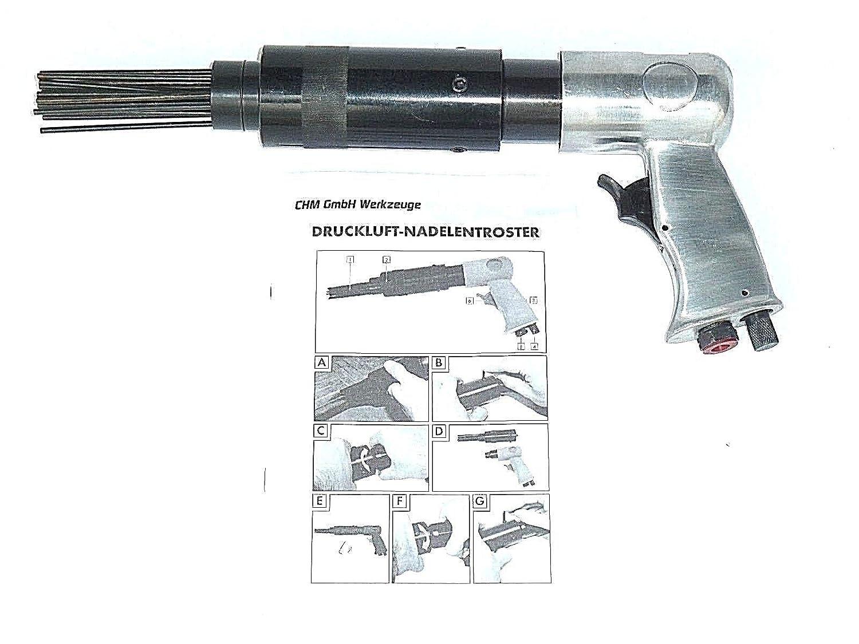 CHM GmbH Druckluft Nadelentroster Rostentferner Nadelpistole 4000 U//min 6,2 bar