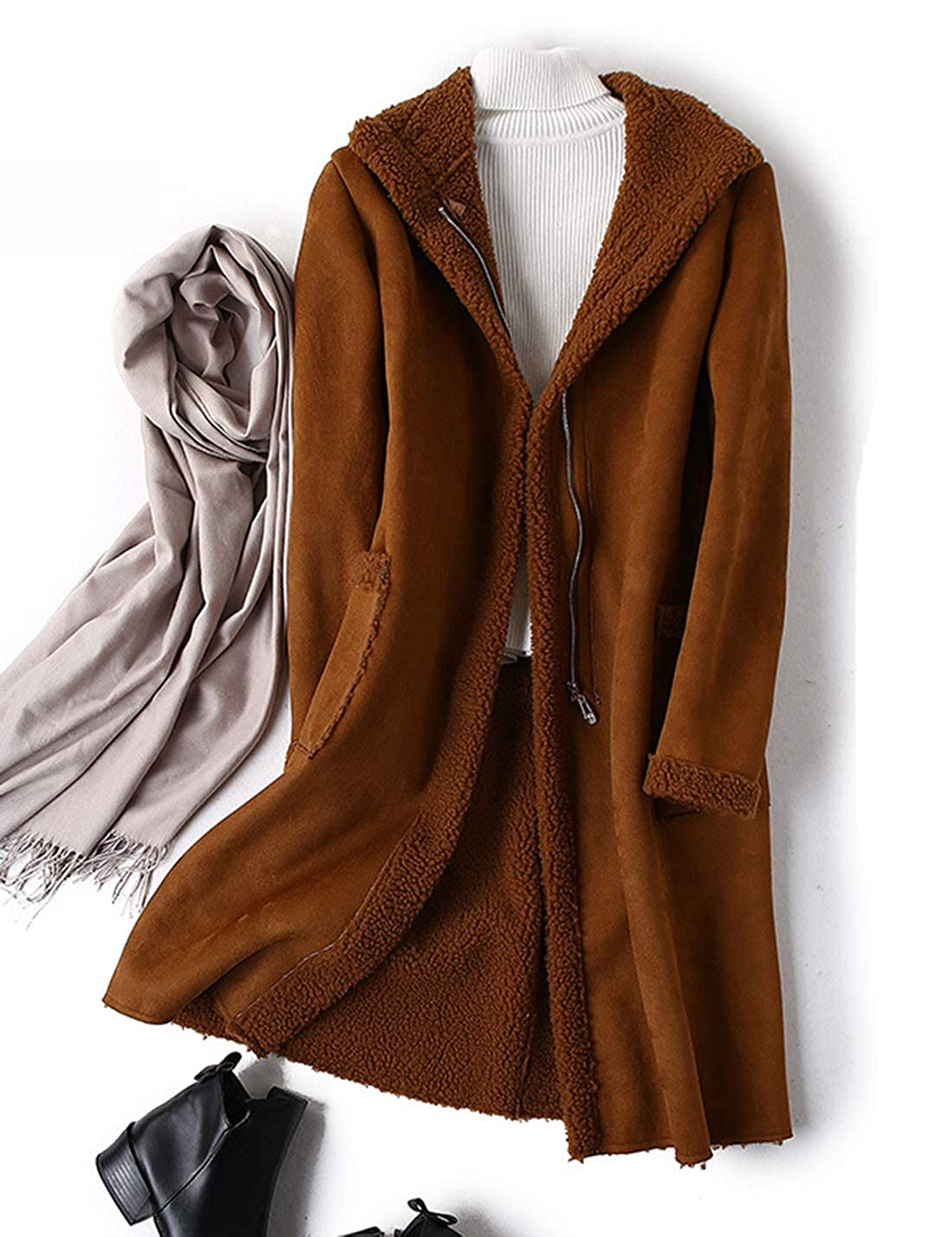 Caramel Yeokou Women's Thick Zipper up Lapel Collar Sherpa Lined Suede Long Trench Coat