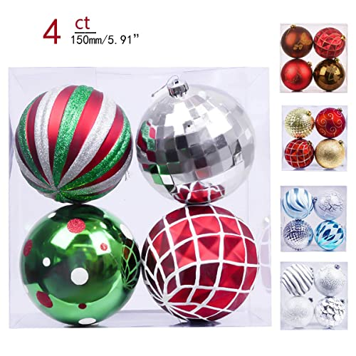 Valery Madelyn 4ct 150mm Classic Collection Splendor Red Green White  Shatterproof Christmas Ball Ornaments Decoration, - Outdoor Christmas Ornaments: Amazon.com