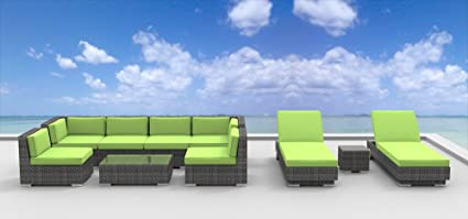 UrbanFurnishing.net 10a-ibiza-green 10-Piece Patio Sectional Sofa Set, Lime Green