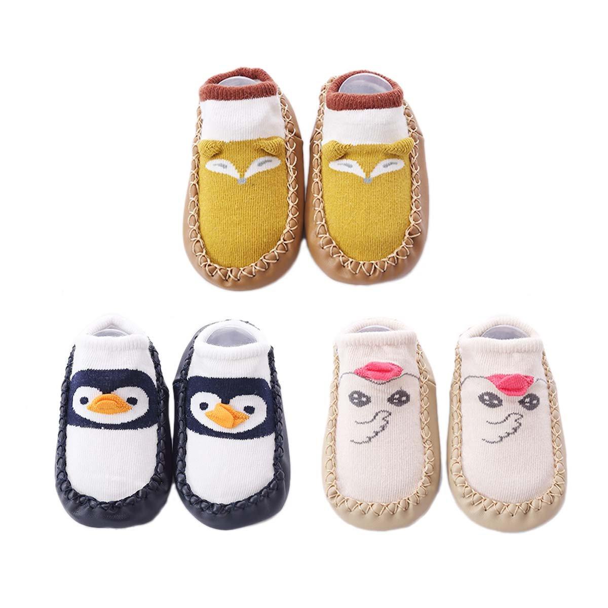 fygood Confezione da 3paia calzini bambino antiscivolo pantofole primo passo Unisex caneton-lapin XS(0-10mois/base 12cm)