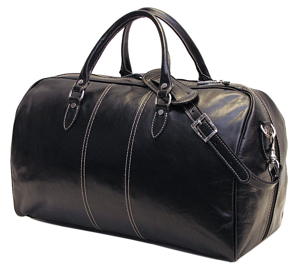 Floto Venezia Leather Duffle Bag in Black