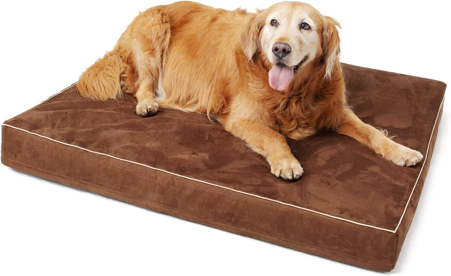 Papa Pet Orthopedic Dog Bed with Solid Memory Foam, True Waterproof Lining, Removable Suede Cover, Prevent Relieve Pain of Arthritis Hip Dysplasia, Premium Edition