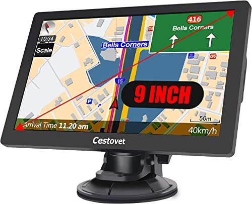 GPS Navigation for Car, 9 inch Big Touchscreen Trucking GPS 8GB SAT NAV System Navigator Turn by Turn Directions Navigation System for Cars Free North America Map Updata Contains USA, Canada, Mexico