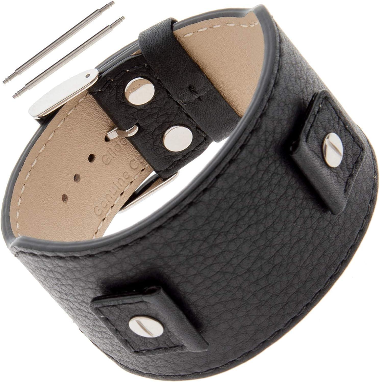 Gilden Softly Textured Calfskin Leather Cuff Watch Band Bracelet FC52