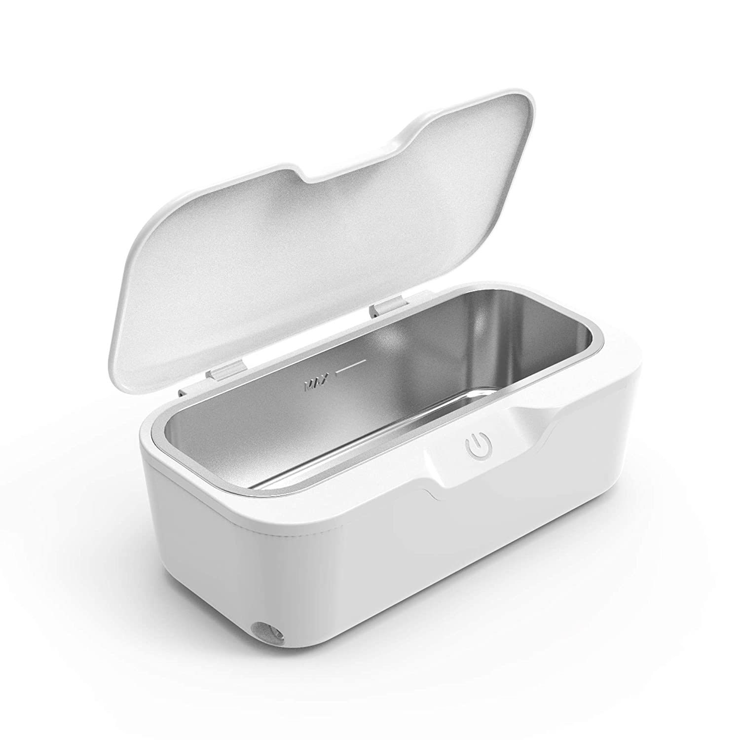 Ultrasonic Cleaner Professional Ultrasonic Jewelry Cleaner Portable Rings Eyeglasses Watches Denture Makeup Brush Razors Cleaning Machine for 25W (White)