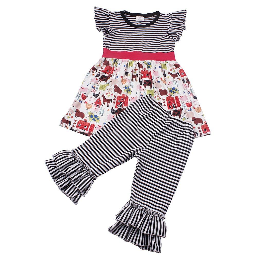 Baby Girls Summer Outfit Toddler Girls Farm Animals Dress Cotton Stripe Shorts Set Children Girls Clothing Boutique 2T