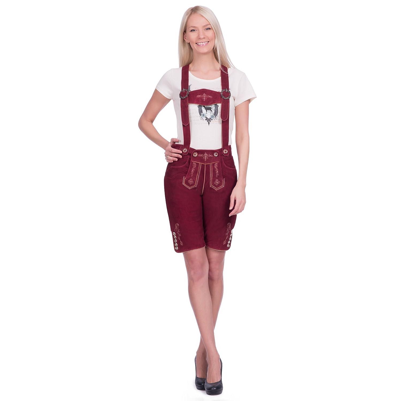 Damen Trachten Lederhose kurz in bordeauxrot aus Zigenveloursleder verfügbar in Größe 34 bis 46