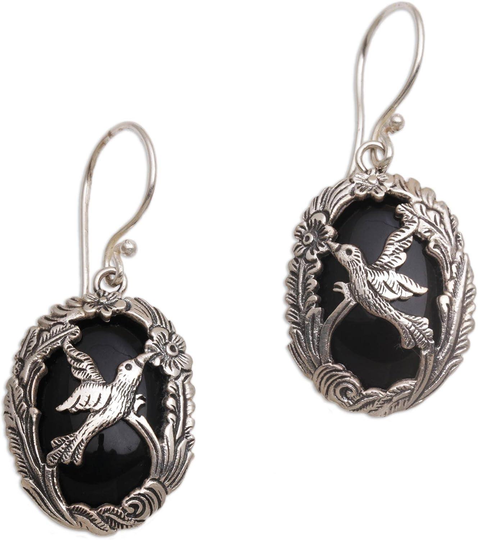 NOVICA Onyx .925 Sterling Silver Dangle Earrings 'Nature's Freedom'