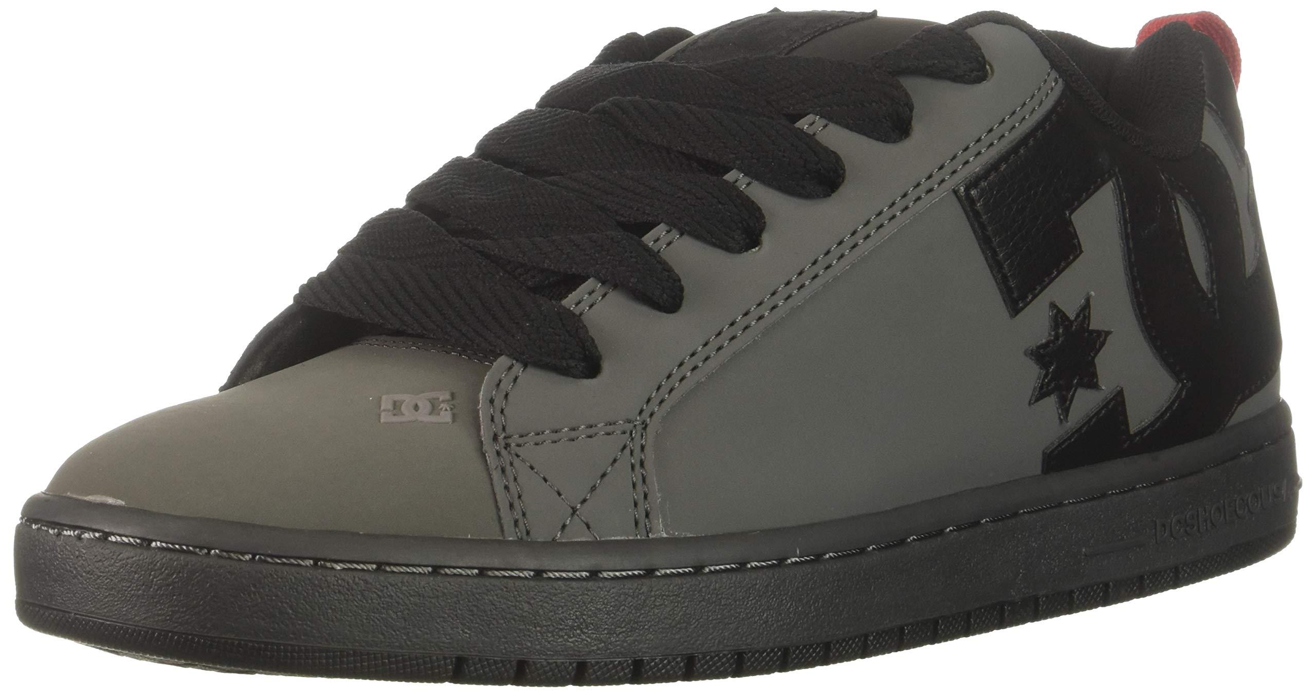DC Men's Court Graffik Skate Shoe, Grey/Black/red, 6 D M US
