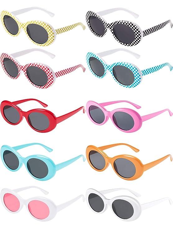 Zhanmai 10 Pieces Retro Clout Oval Goggles Mod Thick Frame Kurt Round Lens Sunglasses 10 Colors Women Men Girl Boy Sunglasses by Zhanmai