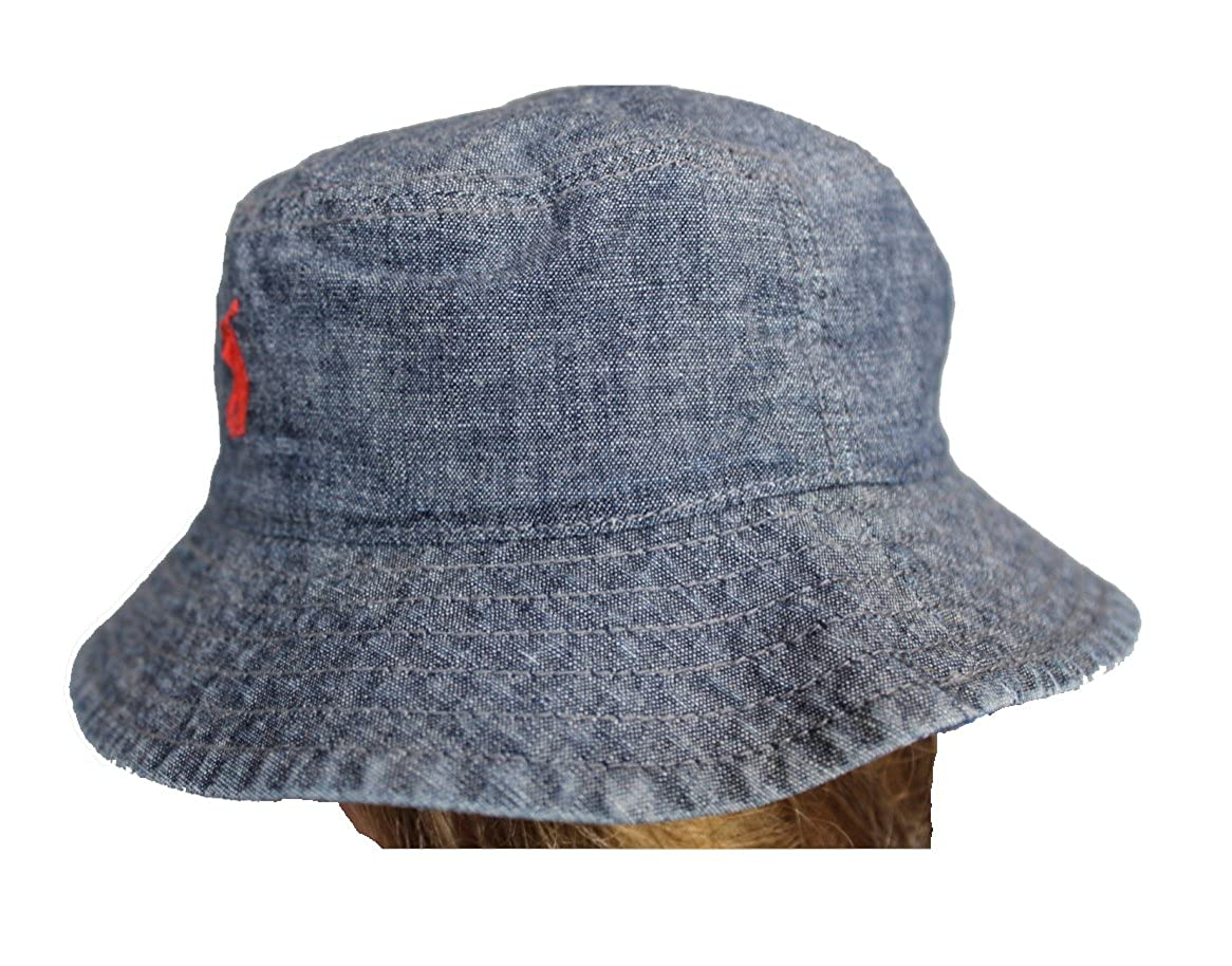 9fbf61125e036 Ralph lauren Baby Infant Reversible Chambray Bucket Hat One Size 3-9 Month  Dark Blue  Amazon.ca  Clothing   Accessories