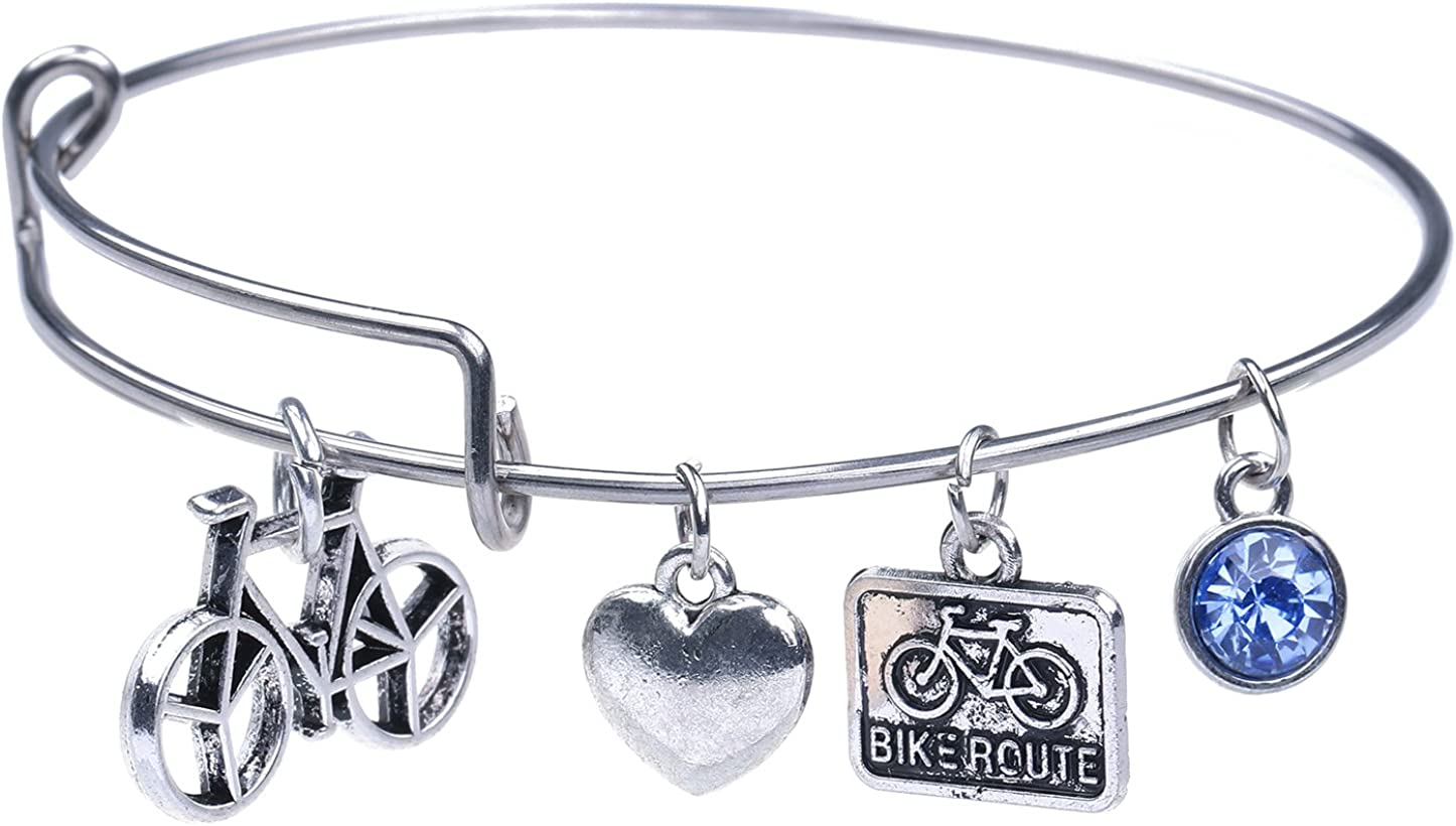 Stainless Steel Road Bicycle Sport Bike Route Charm Bangle