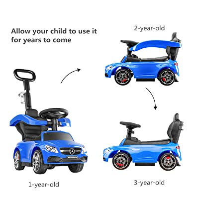 BABLE Mercedes Benz Push Cars for Toddlers- Push Car Stroller for Kids to Ride with Safety Bar Cup Holder, Ride on Toys for 1 to 3 Year Old Boys or Girls (Blue): Toys & Games