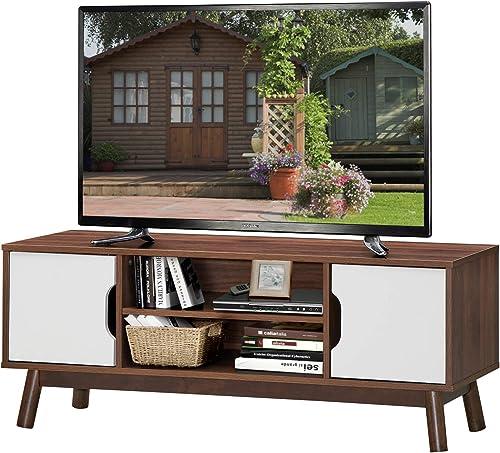 Tangkula Modern Wooden Universal TV Stand