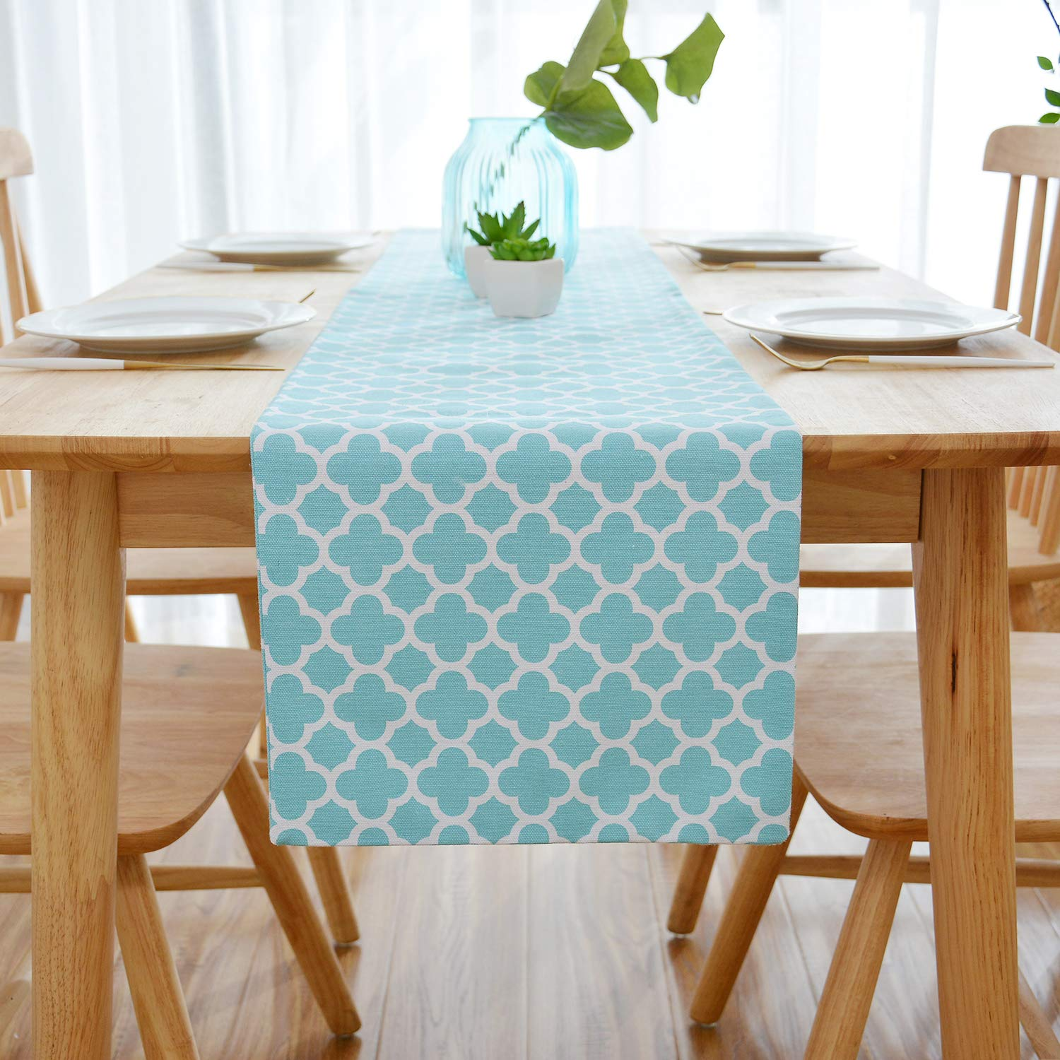 NATUS WEAVER Lattice Cotton Table Runner for Dining Room, Foyer Table, Summer Parties and Everyday Use - 12 x 72, Teal