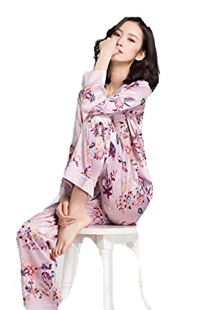 zk 100% Silk Women Pajamas Casual Long Sleeve Spring Autumn Two Piece Sets Pijama Mujer
