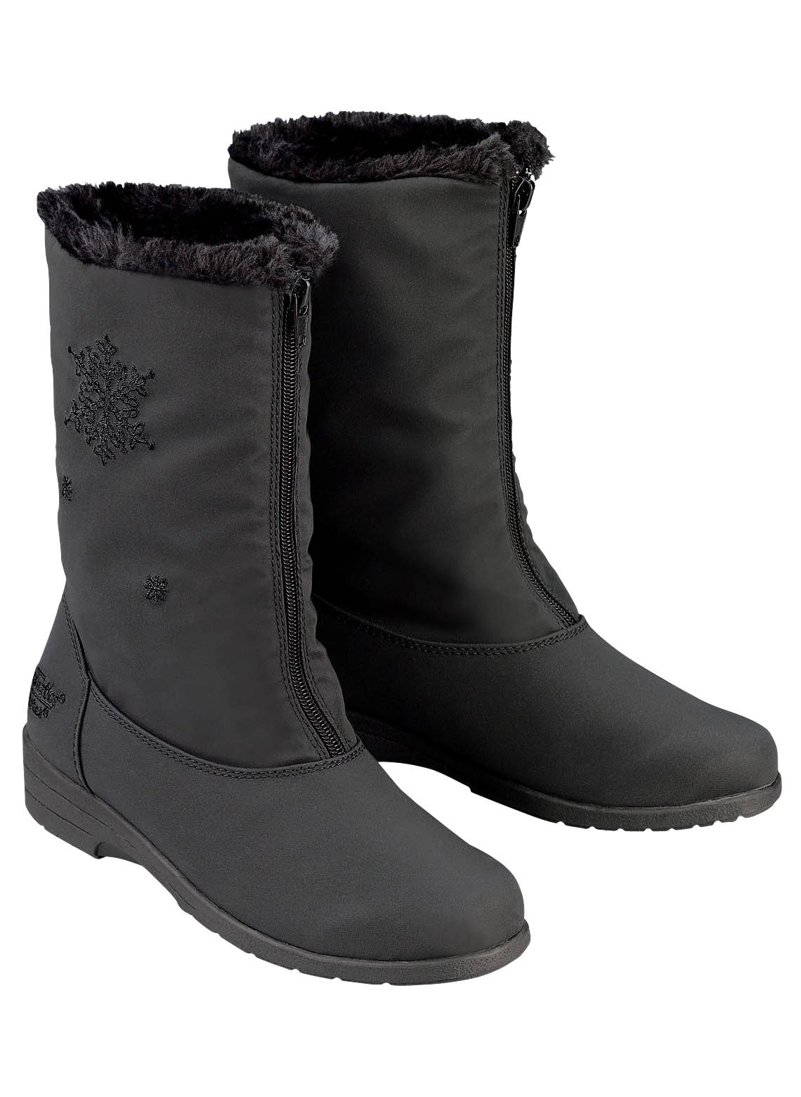 Chromatics by Totes Snowflake Boots, Black, Size 8 (Wide)