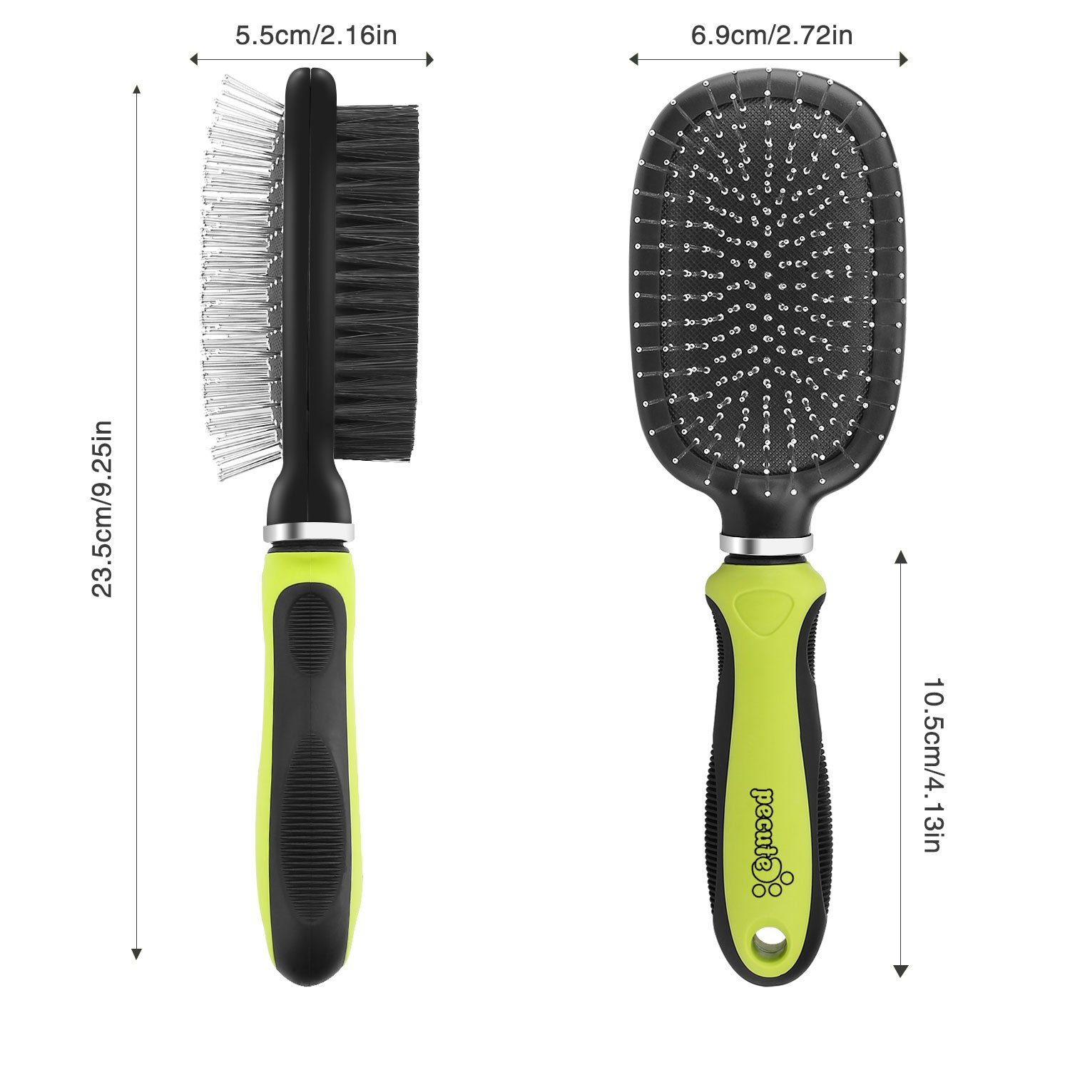 Dog Brush Cat Pet Grooming Comb 2 in 1 Double Sided Pin & Bristle Cleans Pets Shedding & Dirt for Long Medium Thick Short Hair Pet