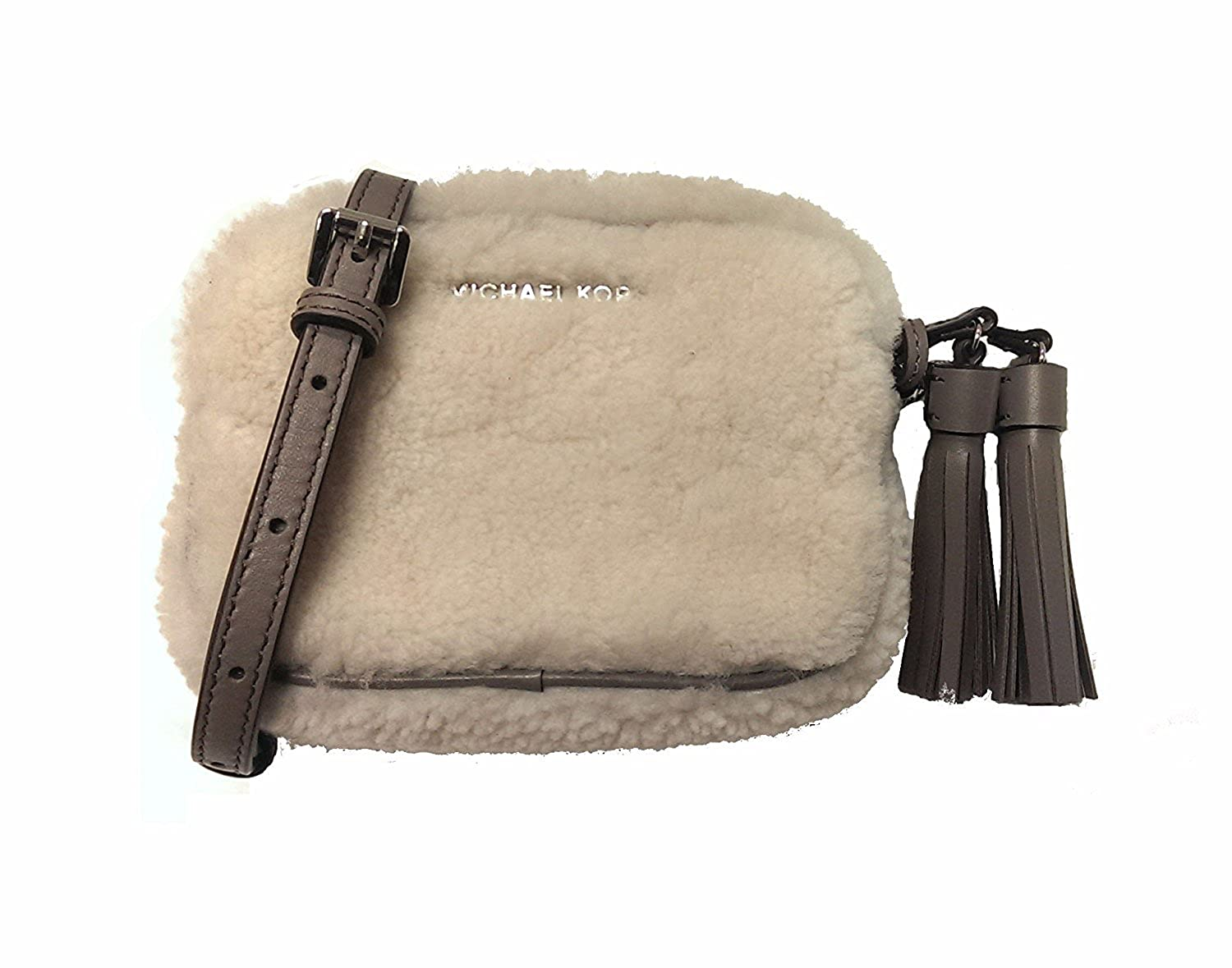 917d5d7cd Amazon.com: Michael Kors Jet Set Travel Small Chain Crossbody Fur Shearling  Natural/Cinder: Clothing