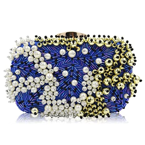 98d9508cb49 Image Unavailable. Image not available for. Color: WTING Women Sequin  Clutches Evening Bags Handbag Pearl ...