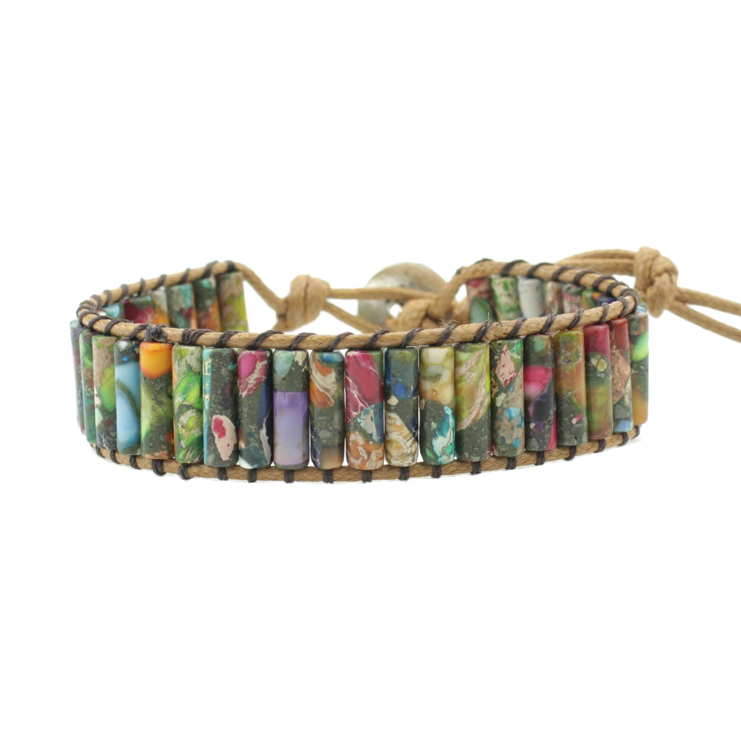 IUNIQUEEN Rainbow Natural Stone Beads Friendship Statement Wrap Imperial Jasper Bracelets Collection for Women (tube beads style)
