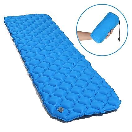 Uniquebella - Colchoneta de dormir hinchable ultraligera y compacta, resistente a la humedad, portátil, para senderismo, mochila, senderismo, viajes, ...