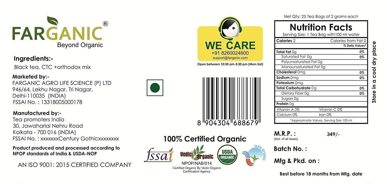 Farganic Orthodox Mix English Breakfast Tea 100 Certified Organic