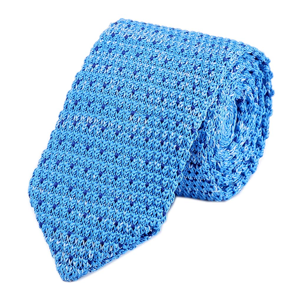 Men Youth Boy Sky Blue Knit Silk Neck Ties Woven Smart Soft Slim Skinny Neckties