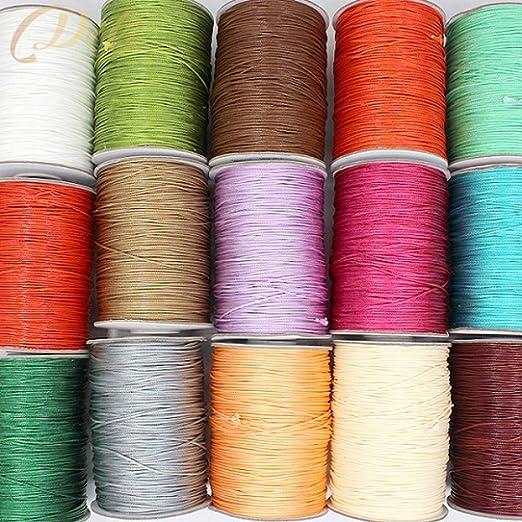 HYZKJ Cuerda Cordón De Algodón Encerado De 1 Mm Cuerda De Hilo De Hilo Encerado Collar Cuerda Joyería DIY, Color De La Mezcla: Amazon.es: Jardín