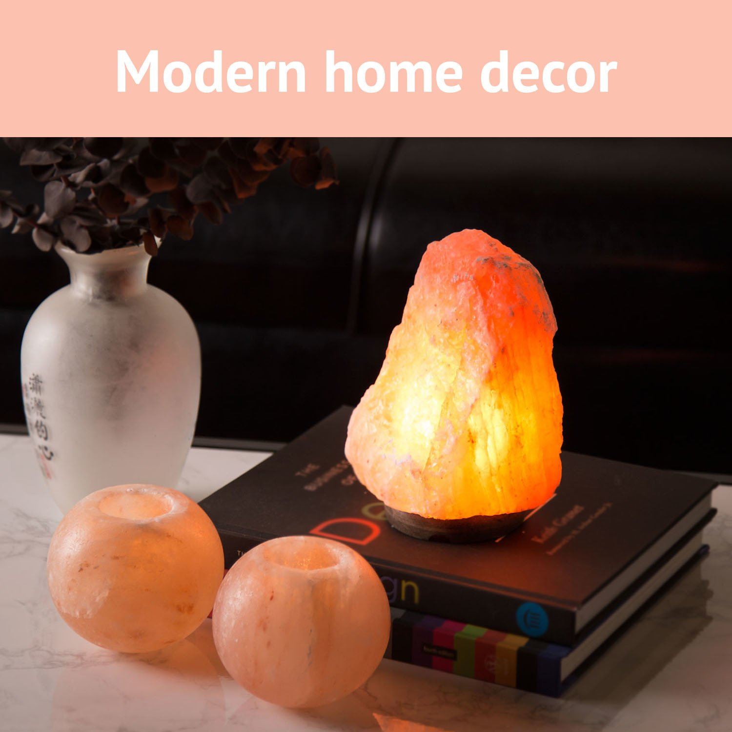 Crystal Allies Natural Himalayan Salt Lamp and 2 Piece Tea Candle Holder Combo with Dimmable Cord and Bulb - Choose Your Design (1 Piece Salt Lamp ~6'') by Crystal Allies Gallery (Image #4)