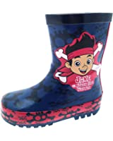 Disney Boys Kids Jake And The Neverland Pirates Rubber Wellington Snow Boots Wellies Size UK 4-10