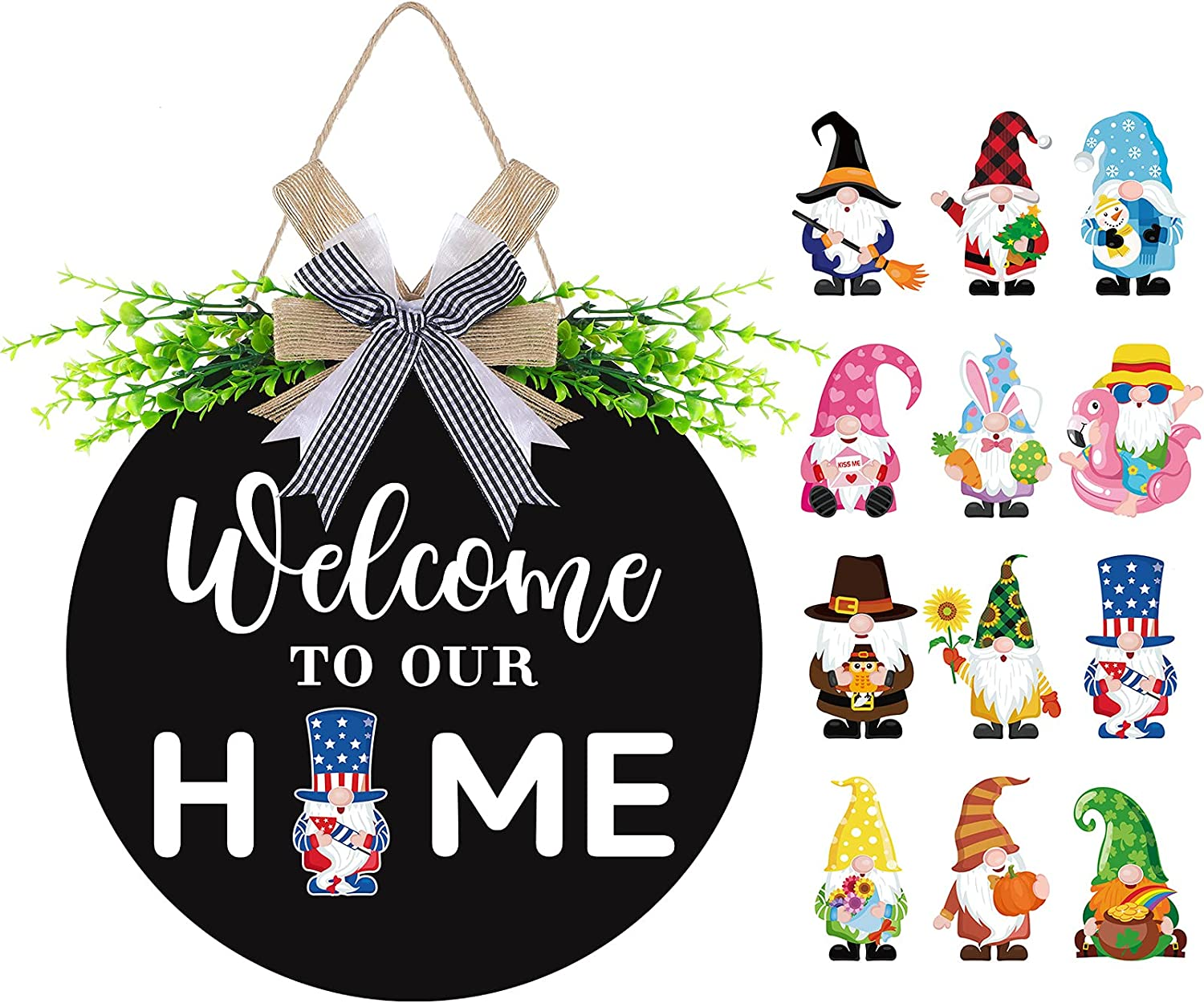 Gnome Wooden Seasonal Welcome Door Sign Interchangeable Welcome to Our Home Round Wood Hanging Front Door Sign with Burlap Bow with 12 Seasonal Ornament for Independence Day Holiday Porch (Black)