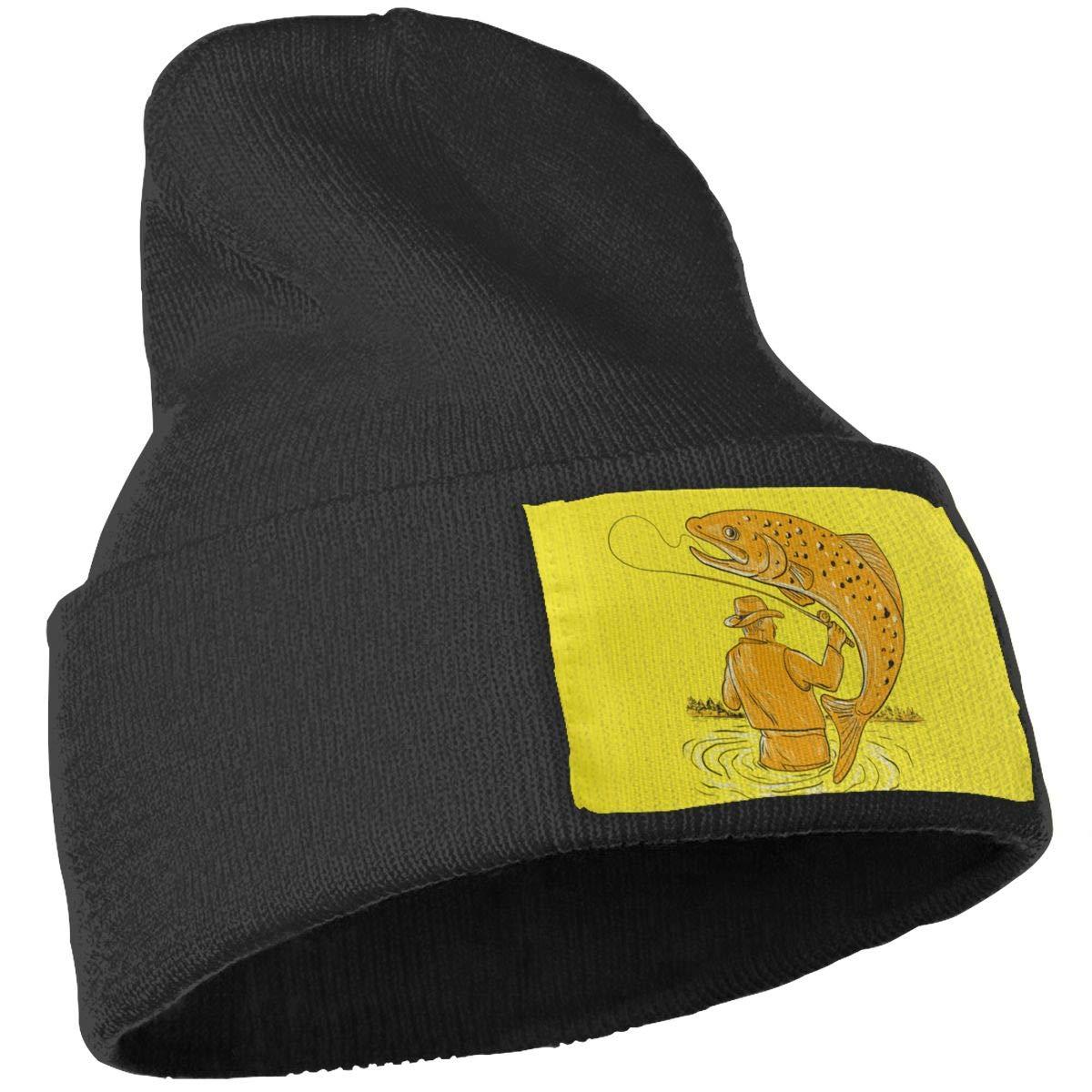 Oopp Jfhg Fisherman Fishing Trout Wool Cap Beanie Hat Unisex Winter