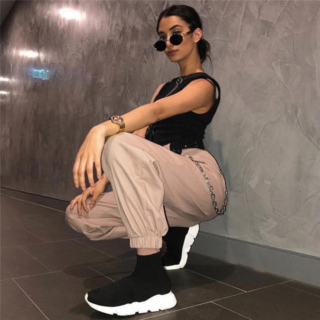 Vovotrade para Mujer Harem Holgado Hip Hop Dance Jogging Sweat Pants Slacks Pantalones,Mujeres Deportes Gym Pantalones de Entrenamiento Pantalones de Fitness Gimnasio de Correr Pantalones Khaki, M