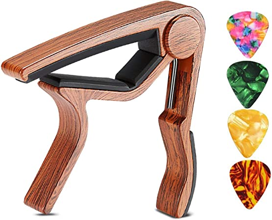 Imagen deDisparador de capo de guitarra para guitarras eléctricas y acústicas Ukelele de bajo de madera