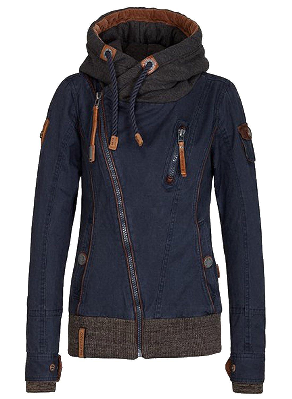 Azbro Women's Asymmetrical Zipper Long Sleeve Drawstring Hooded Jacket