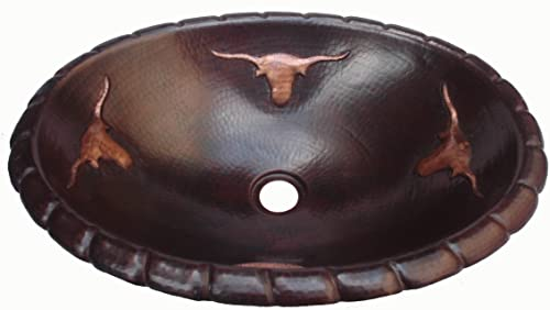 Mexican Bathroom Copper Oval Sink Hand hammered Bulls Design