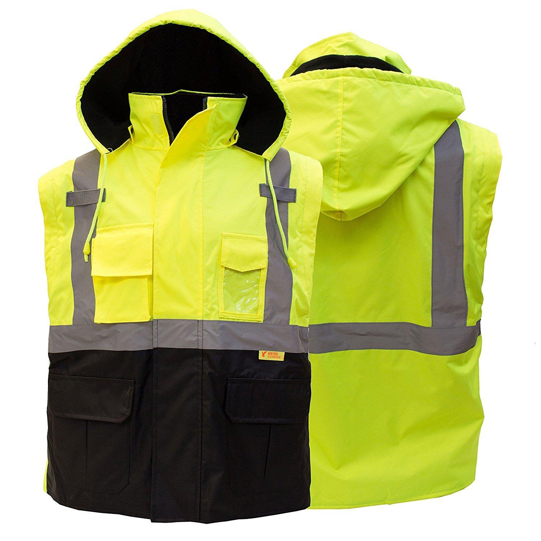 Troy Safety New York Hi-Viz Workwear Men's Ansi Class 3 High Visibility Safety Bomber Jacket with Zipper, PVC Pocket, Black Bottom, Qty 1 (Medium, Lime Green) by New York Hi-Viz Workwear (Image #5)