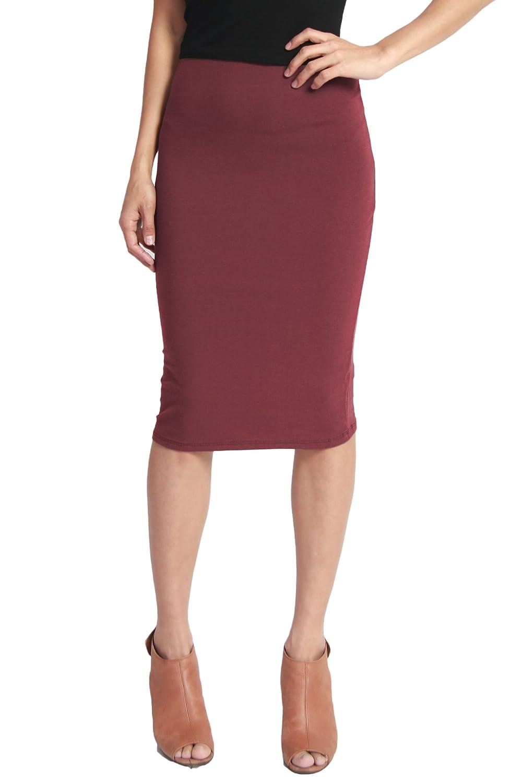 TheMogan Women's Basic Striped Stretch Cotton Elastic Waist Knee Length Pencil Skirt
