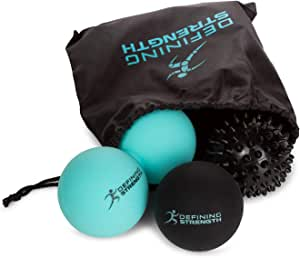 Top 3 Massage Balls Set, Spiky, Lacrosse ball, Peanut Muscle Roller Massager. Ideal for Self Myofascial Trigger Point Release, Acupressure, Plantar Fasciitis, Reflexology for Physio, Back, Legs & Feet