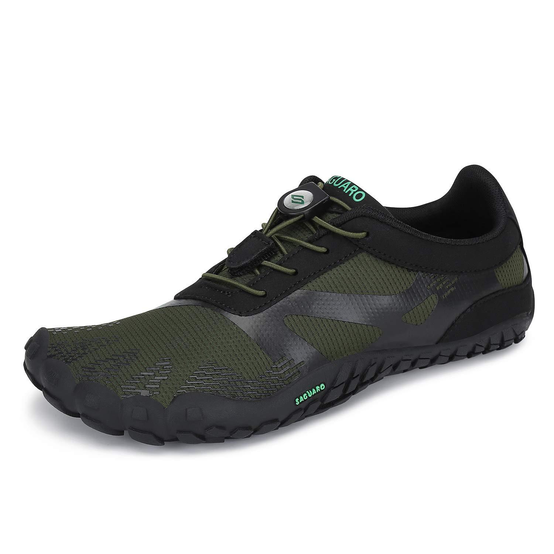 Saguaro Mens Womens Barefoot Trail Running Shoes Zero Drop Gym Walking Beach Hiking Waterfalls Aqua Sports Pool Surf Quick Dry Water Shoe Green 15 Women 13 Men Buy Online At Low Prices In