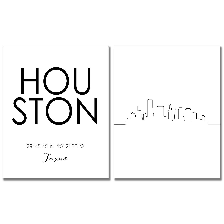 N&T Houston Skyline Wall Décor Prints - Set of 2 (8x10) Art Photos - Typography Minimalist Poster