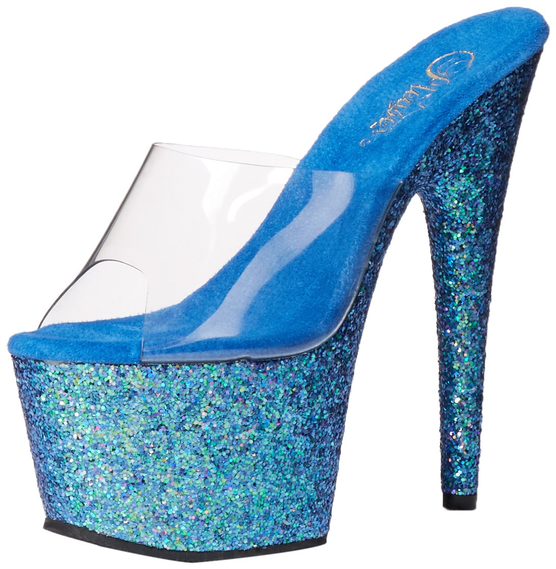 Pleaser Women's Ado701lg/c/Blg Platform Sandal B017LKZ55Q 7 B(M) US|Clear/Blue Holo Glitter
