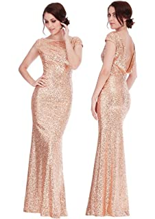 Goddiva Champagne Gold Sequin Open Back Maxi Evening Dress Bridesmaid Prom Ball Party
